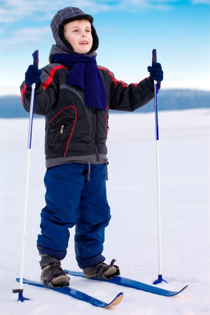 Smiling kid boy skier standing in snow mountain landscape and looks into the distance; vertical orientation Stock Photo - 12192459