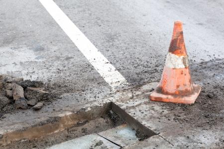pothole: Pothole and road surface repairing works Stock Photo