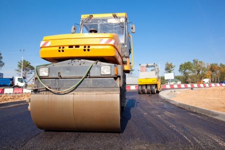 roller compactor: Road rollers during asphalt paving works