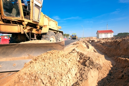 Grader machine during roadworks for asphalt paving Stock Photo - 17696175