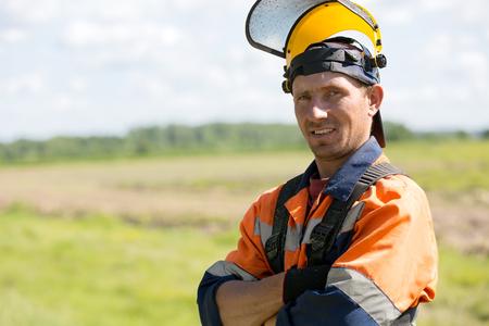 Portrait positive landscaper man worker gardener