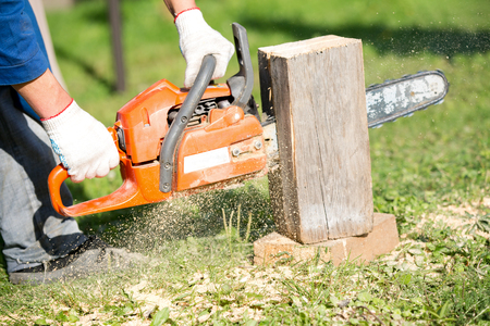 Lumberjack Worker with Chainsaw in Work Wear Cutting Timber during Construction Works Stock Photo