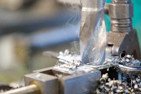 metalworking industry: steel boring on pillar drill machine