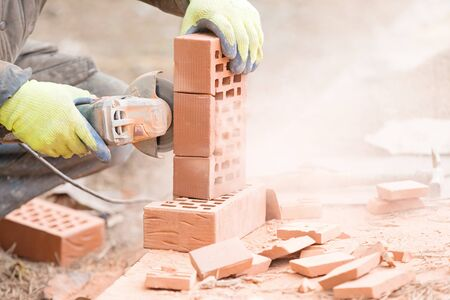 Brick cutting with angle grinder tool