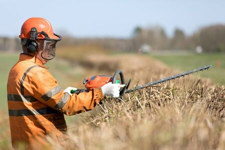 Professional Landscaper trimming hedgerow with Gas Powered Clipper