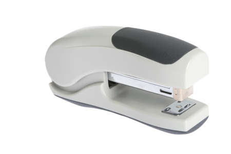 gray stapler isolated on a white background photo