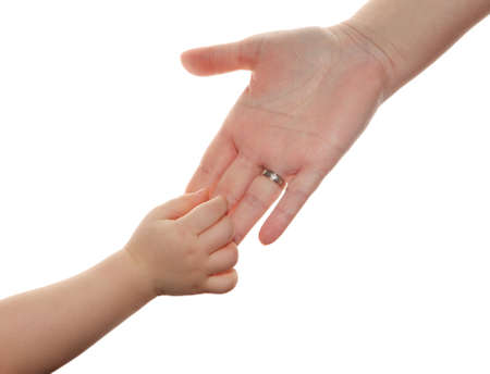 hand the child in the hands of the mother isolated on white background Stock Photo - 8614944