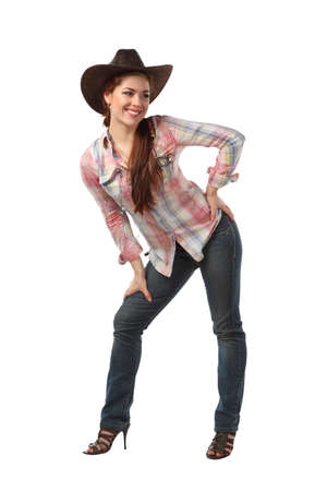 rodeo cowgirl: girl cowboy isolated on a white background