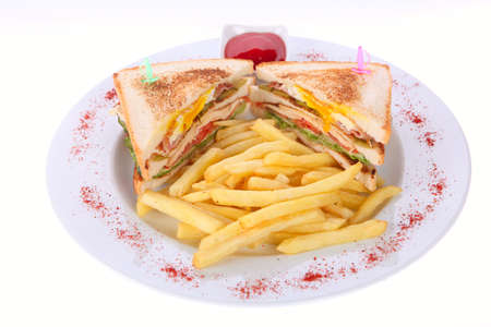 sandwich and french fries on a plate white background photo