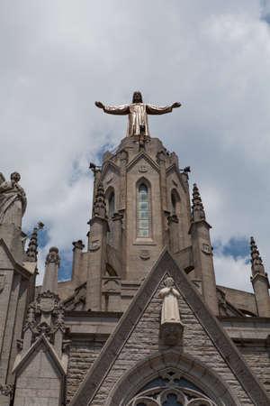 tibidabo: Statue of Christ on Mount Tibidabo, Barcelona Stock Photo