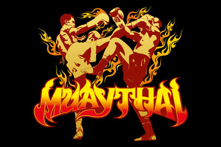 thai boxing Vectores