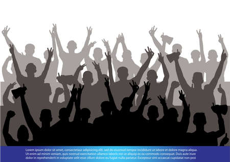 crowd cheering: A crowd of people cheering Illustration