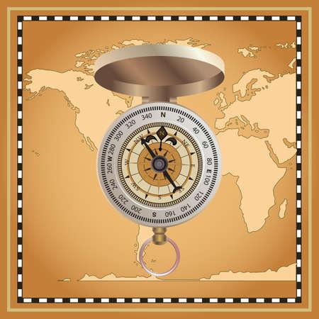 direction magnet: Vintage  compass  on map background