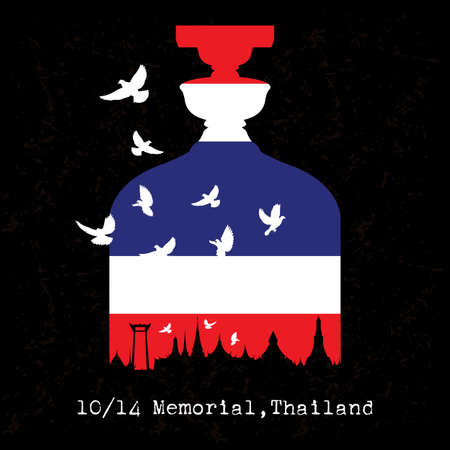Democracy Monument with flag, Bangkok, Thailand