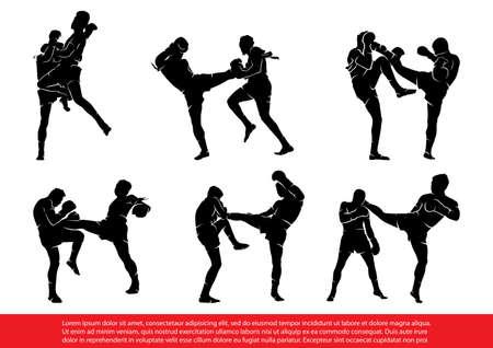 Conjunto de siluetas de boxeo tailandés en acción