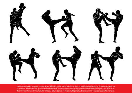 Set of Thai Boxing Silhouettes in Action