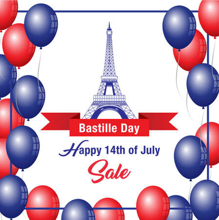 Happy Bastille Day Celebration Banner Illustration