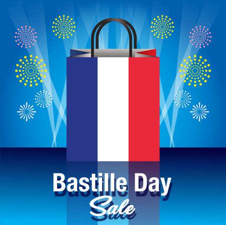 Happy Bastille Day Celebration Banner Illustration