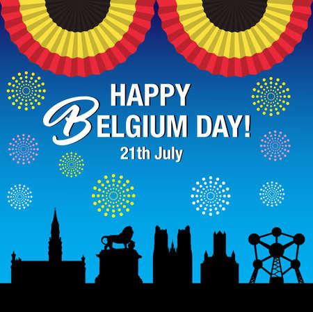 Belgium national day Celebration Banner illustration.