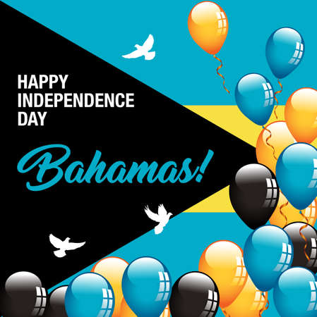 Happy Independence Day Bahamas Banner 向量圖像
