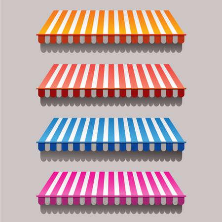 Set van gestreepte luifels voor winkel en markt Stock Illustratie