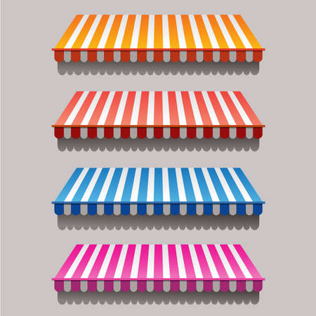 Set of striped awnings for shop and marketplace