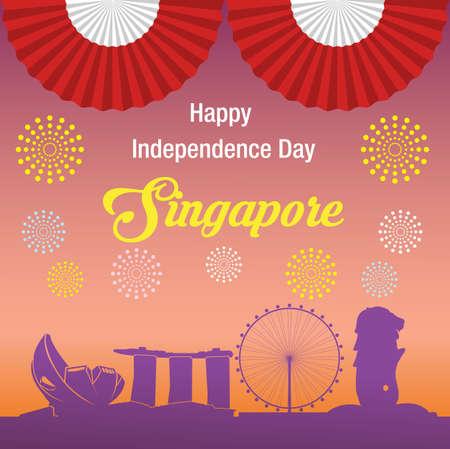 幸せな独立記念日シンガポール バナーします。