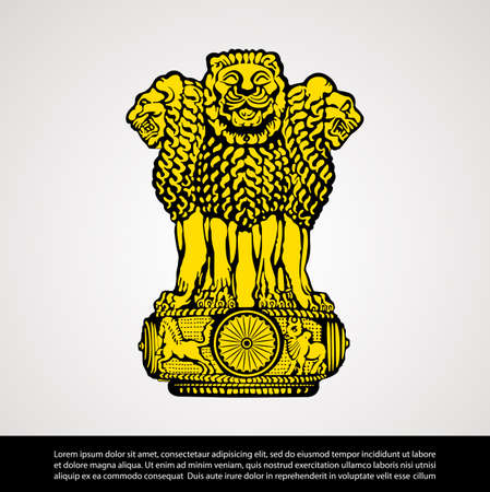 Vector image of India National Emblem 일러스트