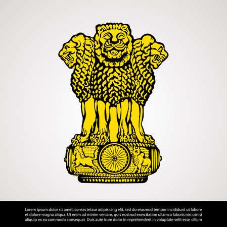 Vector image of India National Emblem Ilustração