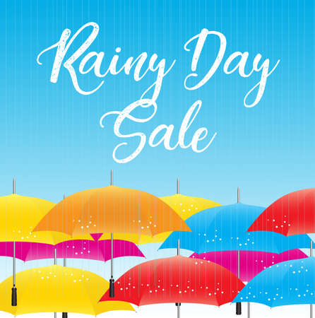 rainy day sale special offer banner Çizim