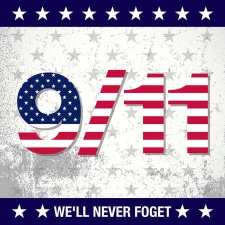 9/11 Gedenkkonzept mit Design der amerikanischen Flagge Standard-Bild - 85392560