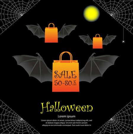 Halloween sale banner template design on black background.
