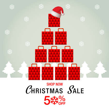 Christmas and New Year sale background, vector illustration. Illustration