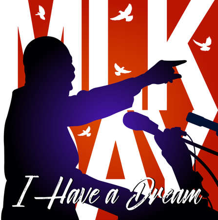 Martin Luther King  Day background.Illustration of Martin Luther King, to celebrate MLK day. Illustration
