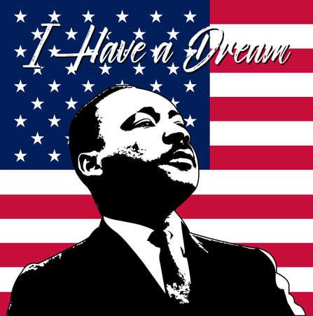 Tło Dnia Martina Luthera Kinga Ilustracja Martina Luthera Kinga z okazji dnia MLK.