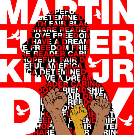 Martin Luther King Jr. Day background.Illustration of Martin Luther King, Jr. to celebrate MLK day.