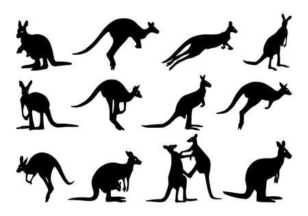Collection of kangaroo silhouette. kangaroo silhouette