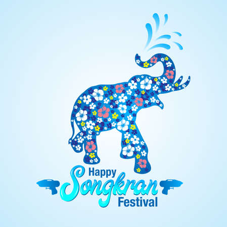 Vector greeting card design for Songkran festival with elephant silhouette made of flowers. Иллюстрация