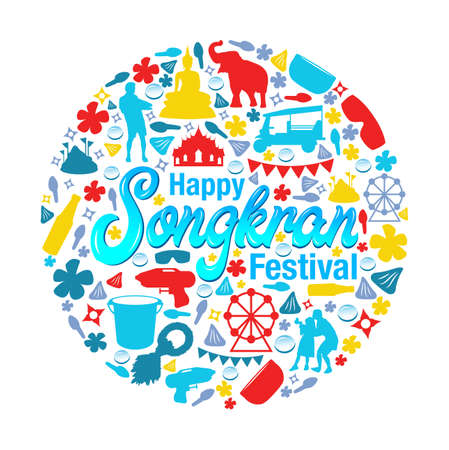 Vector illustration or greeting card for Songkran festival, Songkran festival greeting card. Illustration
