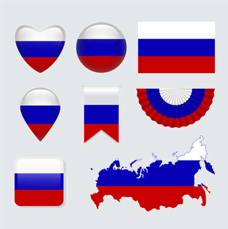 Vector set of Russia flag icon and label
