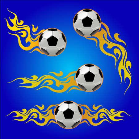 Soccer ball on fire vector illustration Иллюстрация