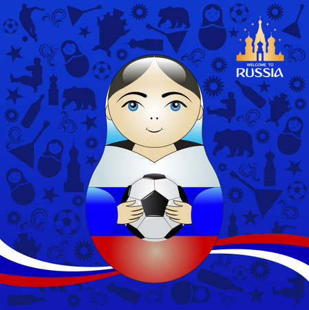 Welcome to Russia background with soccer ball on blue background.
