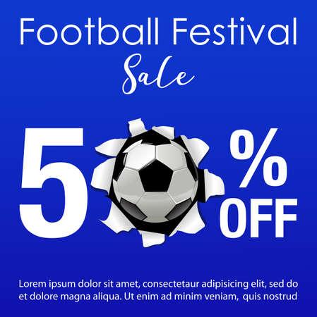 Vector illustration for football festival sale background Иллюстрация