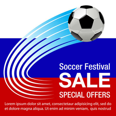 Vector illustration for Russia football festival sale background
