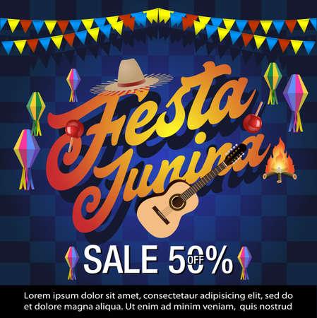 Festa Junina sale banner ,brazil festival sale background, Latin America Traditional Festa Junina sale background Иллюстрация