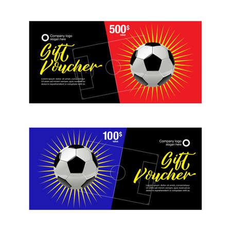 Football Gift voucher, Football Coupon template, Football Coupon design template, Soccer Coupon design template