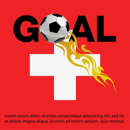Ilustración de vector de fútbol con fuego en el fondo de la bandera de Suiza