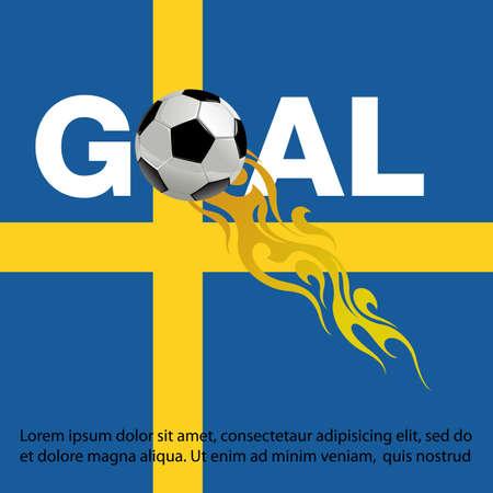Ilustración de vector de fútbol con fuego en el fondo de la bandera de Suecia Ilustración de vector