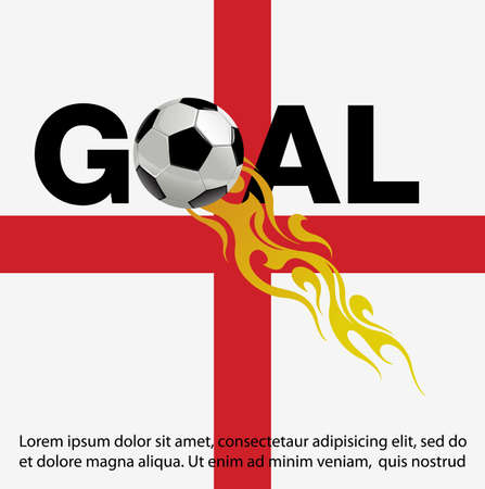 Vector illustration of  Football with fire on England Flag background