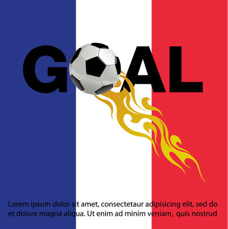 Vector illustration of  Football with fire on France Flag background